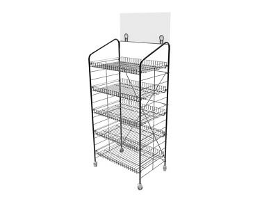 "24.8"" x 58"" x 16.5"" Bakery Display Rack w/Wheels"