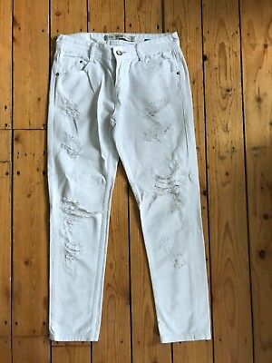Zara Ladies White 'Boyfriend' Denim Jeans Uk6 L26