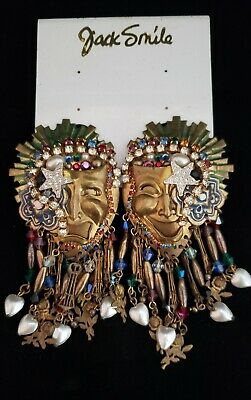 Vintage 1980's Jack Smile Theater Mask Earrings, Comedy & Tragedy, Huge!