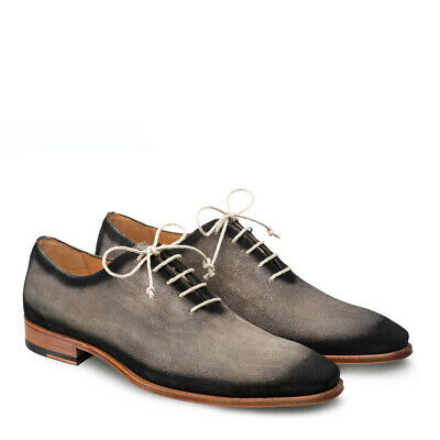 6abd63b07e343 NEW MEZLAN MENS Dress Shoe Fashion Suede Leather Hand Burnished Gray Black