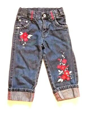 George Girls 4 Blue Jean Denim Pants Adjustable Waist Embroidered Red Flowers