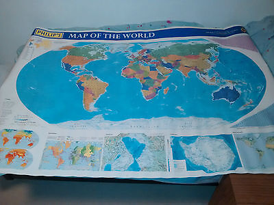 World Map Poster Wall Chart Large size With Country Flags and more