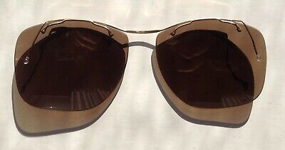 VIntage 1950's Sol Amor 'Orma' Clip On Flexible Wire Frame Sunglasses Brown Lens
