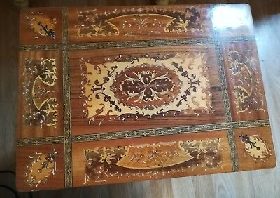 Vintage Music Box Table Inlaid Wood Marquetry Italian Style