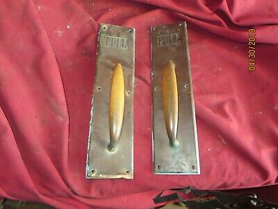 Pair of vintage Antique solid Brass door pulls pull handle hotel commercial