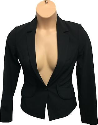 PRE-OWNED Ladies Reiss Plain Black Formal Hip Blazer Jacket Size 8 VH326