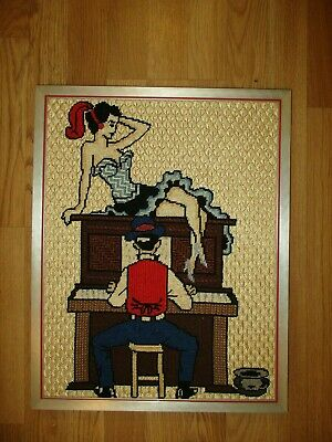 Vintage Saloon Scene  Needlepoint Finished Wall Art  - Crewel?