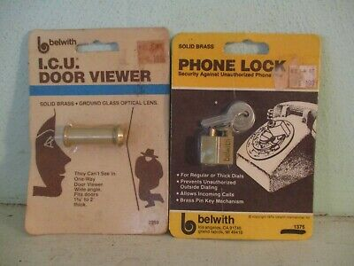 Belwith vintage brass items - telephone lock and door viewer - 1979, 1984