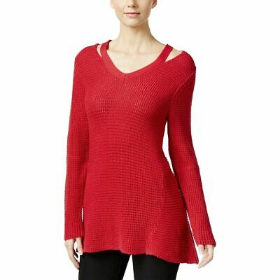 Style & Co. Womens Petites V-Neck Knit V-Neck Sweater Red PXS/PS
