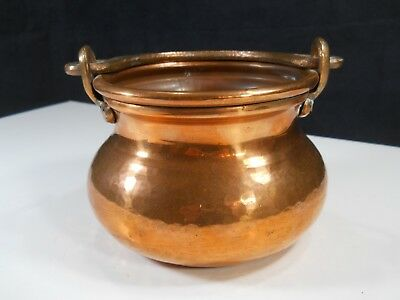 Antique Vintage Small Hammered Copper Firestarter Pot Cauldron w/ Brass Handle