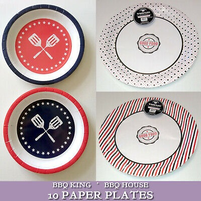 10 PAPER PLATES Navy Red White BLACK STARS STRIPES Good Food Srvd Here BBQ PARTY