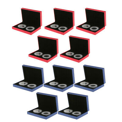 10x Fancy Double Coins Holder Display Commemorative Coins Gift Box Rosso Blu