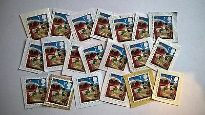 20 Unfranked First Class Wallace And Gromit Christmas 2010 Stamps