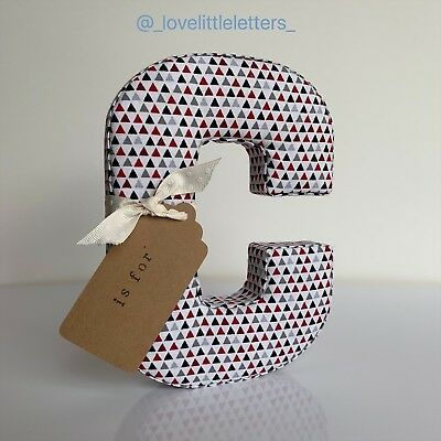 SALE: Fabric Letter C with Name Tag, Nursery, Baby Gift, Baby Shower Gift