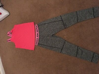 Lovely Next Grey/Pink  Running/ Dance Top And Leggings Age 12 Vgc