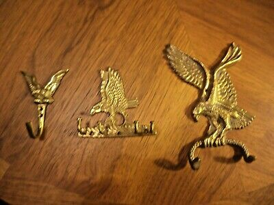 Vintage Mixed Lot Of 3 Ornate Brass Eagle Hooks