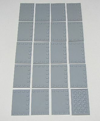 Lego Lot of 20 New Light Bluish Gray Tiles Modified 4 x 6 with Studs on Edges