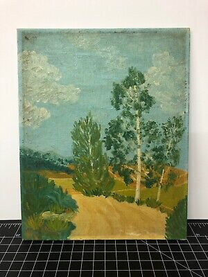 """Original Oil Painting Signed On Canvas Board Forest White 1943 Path Trees 8x10"""""""