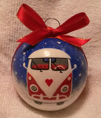 Bus Christmas Ornament Red White Buffalo Coyote Gourd Hand Painted VW Gift OOAK