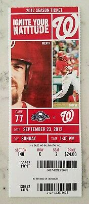 Washington Nationals Milwaukee Brewers Baseball Ticket 9/23 2012 Stub Axford S