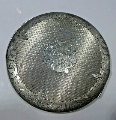 Large 1940'S Sterling Silver Compact With Overall Design