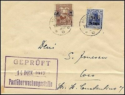 Gf447. German Occupation Romania Cover 1917 Tax Overprinted Stamp Shifted Double
