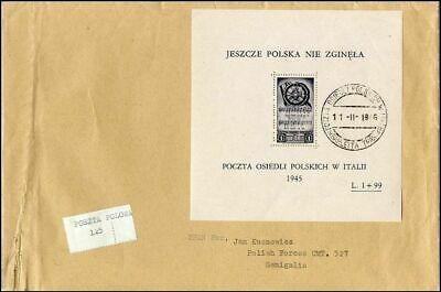 Po048. Poland Forces Second Corps Italy Cover Charity Souvenir Sheet Fund 1946