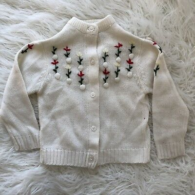 Vintage Baby Girl Cardigan Button Front Embroidered Floral White Red Green