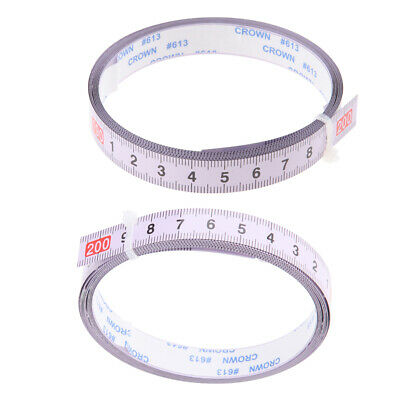 2Pcs Woodworking Tool Metric Track Tape Measure Self Adhesive Scale Miter Us