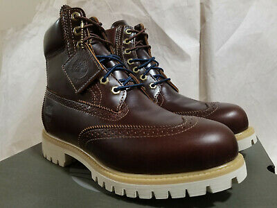 86cd7568a5a TIMBERLAND PREMIUM LEATHER Boots Navy Blue Brown Gum Men Size 14 ...