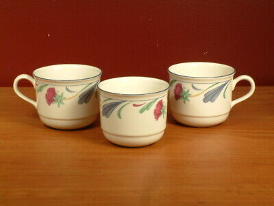 Set of 3 Lenox Poppies on Blue Floral Ivory Cups 8 oz USA