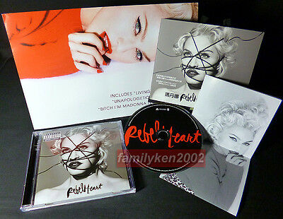 Madonna 2015 Rebel Heart Taiwan Limited Folded Poster + Deluxe CD NEW! madame x