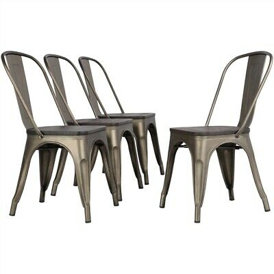 4pcs Metal Dining Chair with Wooden Seat Stackable Side Chairs Indoor-Outdoor