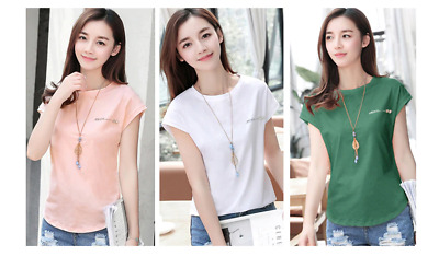 Summer T-Shirt Casual Tshirt Woman Cotton Top Tee Ladies Solid Short Sleeve Pink