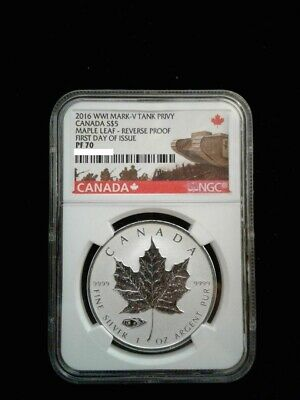 2016 1 oz .9999 Silver Canadian Maple Leaf Mark V Tank Privy NGC PF70 FDOI