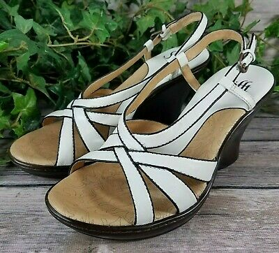 01c9c088c5 Sofft Comfort Wedge Sandals Size 6M - White Brown Leather Strappy Slingbacks