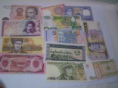 Very Nice Collection of 12 Mint Banknotes from all the World !Latin America,Asia