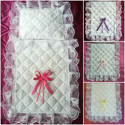 Dolls Small Pram Set Quilted Broderie Anglaise Bedding Cover ( Choose Colour )