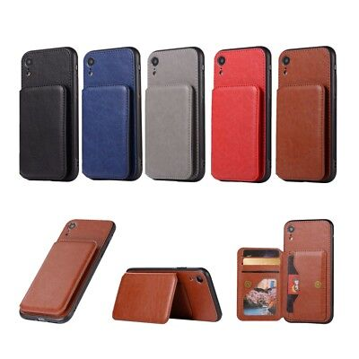 Retro Style Leather Coated Card Slot Kickstand Case Cover for iPhone XR 6.1 inch