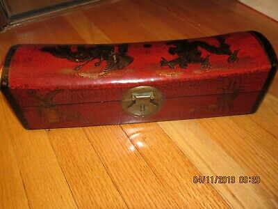 Nice Chinese Leather/ Wood Hand Painted Pillow Box- Afar Inc Milwaukee Wi