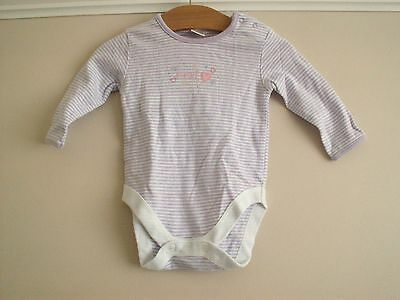Baby Girls Purple And White Striped Long Sleeved Vest Age 3 - 6 Months By Next