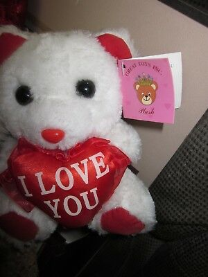 "White Teddy Bear red heart ""I love you""  small great for mother's day gift"
