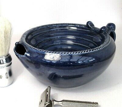 Shaving Scuttle Bowl Mega #3 Blue Hand Made/Crafted - Steve Woodhead Ceramics