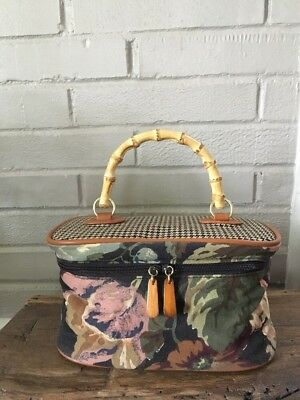 Floral Make-up Travel Bag Case, Bamboo Handle, Boho, Art Deco Vintage-Style, MCM