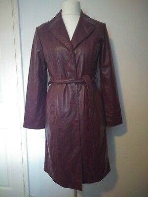 Vintage Brown PVC Midi Belted Coat Retro UK 12 Duster Autumn Spring 70s 80s 90s