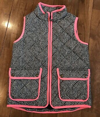 Girls Crewcuts Quilted Puffer Vest Full Zip Black White Pink Sz 6-7