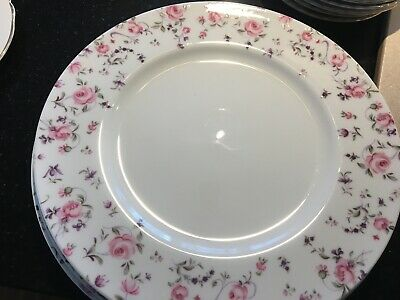 4 Vtg Royal Albert Rose Confetti  Bone China 11 In. Dinner Plates