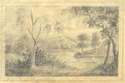 Anne Riall, Heywood Winding River View - Early 19th-century graphite drawing