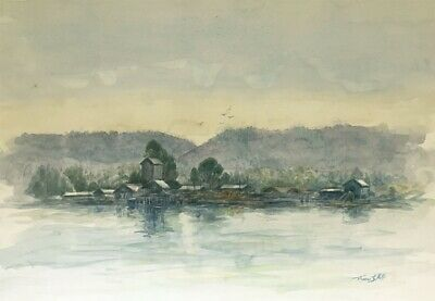 Thomas G. Hill, Saw Mill, Fraser Lake, Canada-Original 1979 watercolour painting