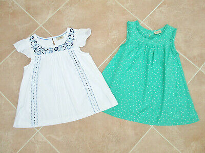 Next - 2 x Girls Smock Style Summer Tops 1 White / 1 Green - size 10 yrs